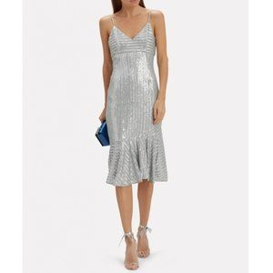 NWT SAYLOR Silver Sequin Peggie Midi Dress